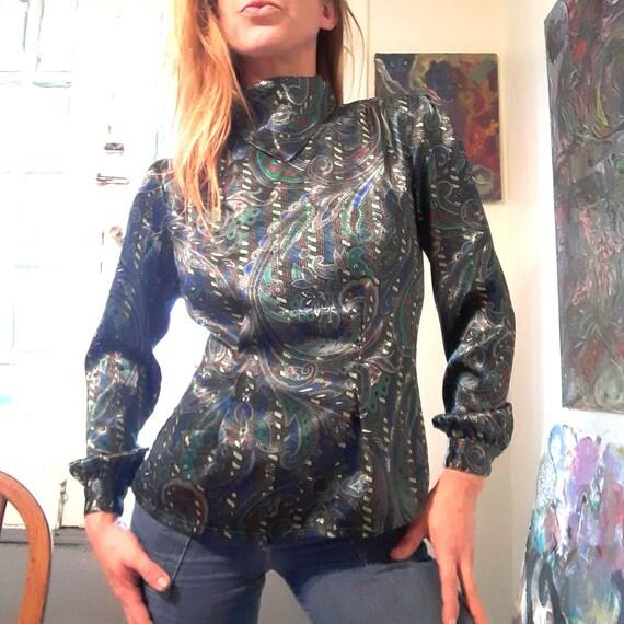 1980's metallic paisley mock neck blouse