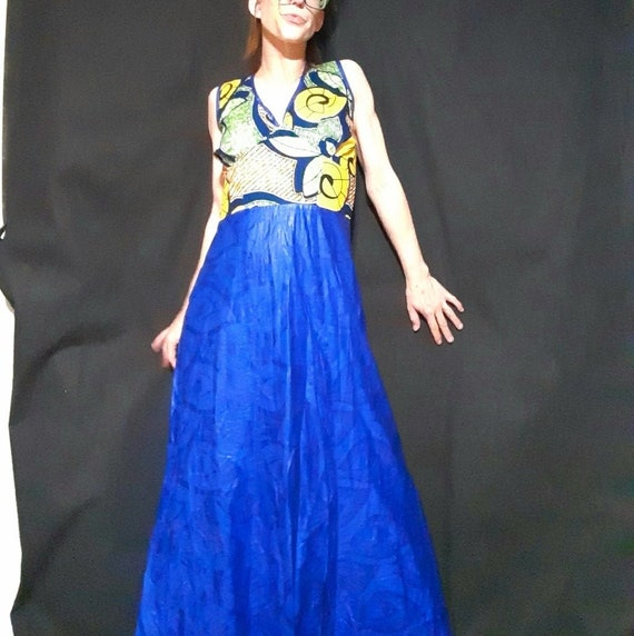 1980's plus sized batik print mermaid maxi dress - image 4