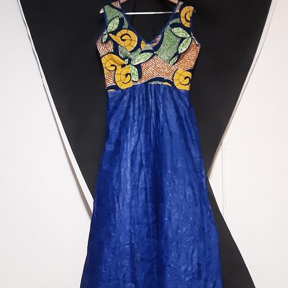 1980's plus sized batik print mermaid maxi dress - image 9