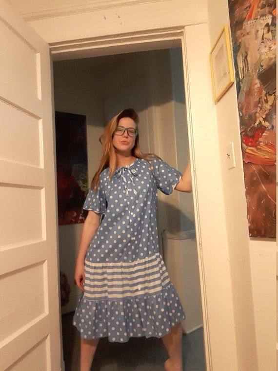 1960's housedress w/ polka-dots & stripes