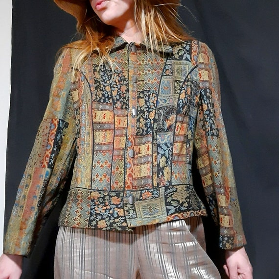 1990's tapestry style bomber jacket