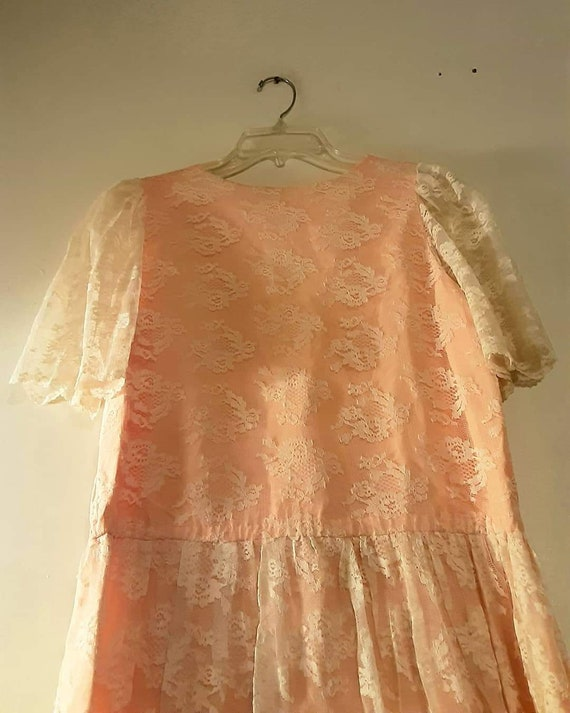 70's does 20's pink lace maxi dress - image 10