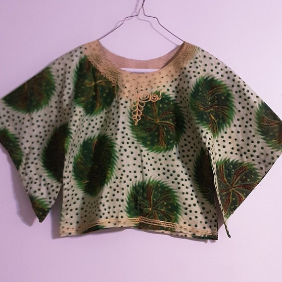 1960's psychedelic batik print crop top - image 6