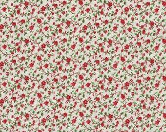 General Fabrics Dark burgundy Calico floral flowers fabric OOP by The yard
