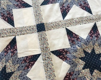 3 Yards *FREE SHIPPING* King Size Cheater Quilt Top Starlast Blue 90 x 108