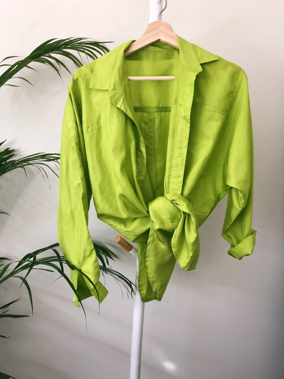 SILK SHIRT - Lime green