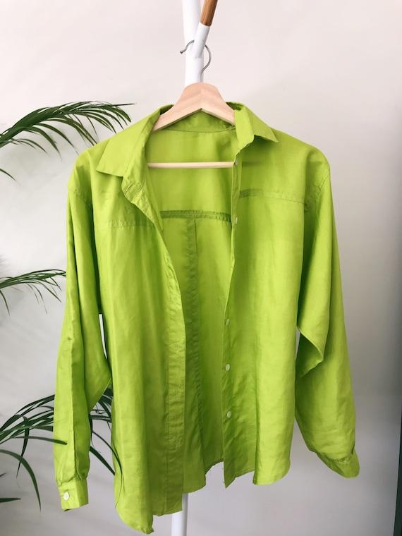 SILK SHIRT - Lime green - image 2