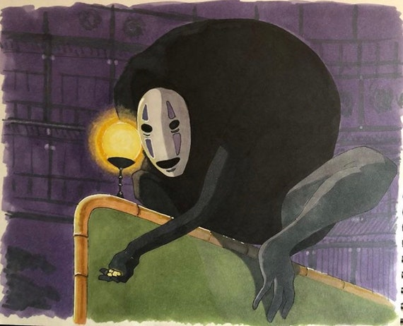 Custom Anime Painting Spirited Away Art No Face Painting Etsy