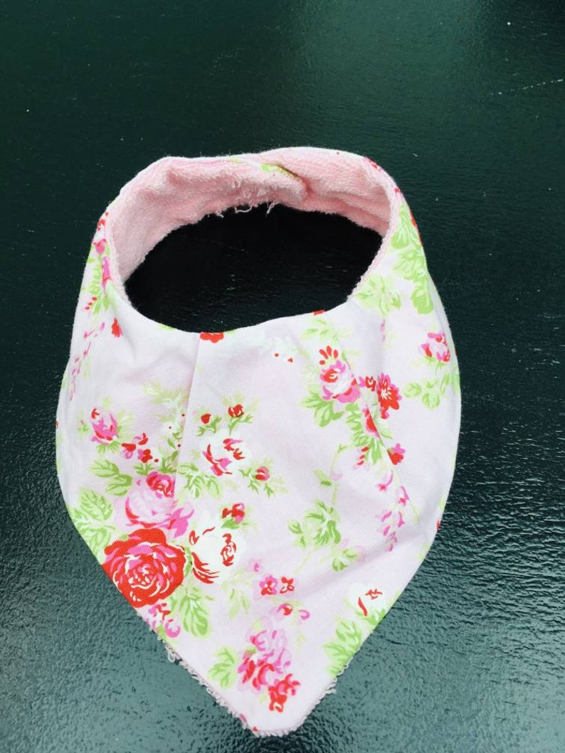Handmade dribble bib baby pink roses