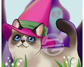 "Munchkin cat witch 11x17"" print"