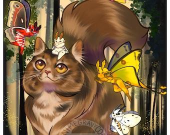 "Norwegian forest cat whimsical moth fairies 11x17"" print"