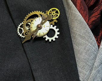 Steampunk Butterfly Wedding Lapel Pins Boutonniere Recycled Clock Works Groom Groomsman Love Industrial Pin