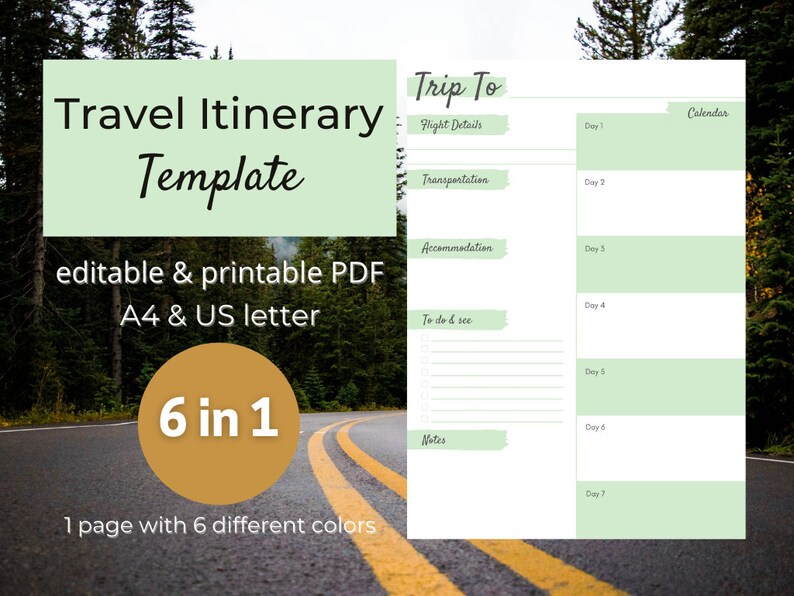 Digital Travel Itinerary Template for GoodNotes or Tablet Apps image 0