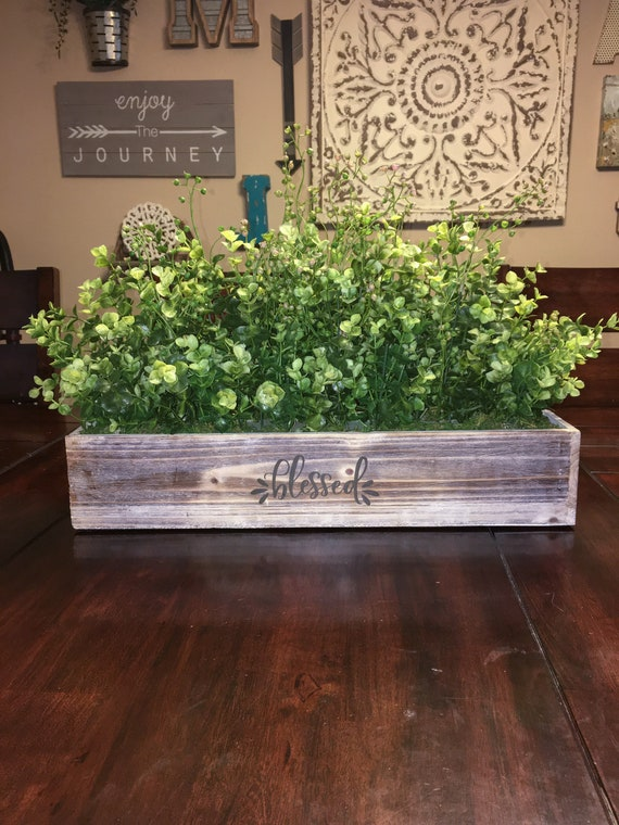 Farmhouse Table Centerpiece Dining Room Table Wood Planter Etsy