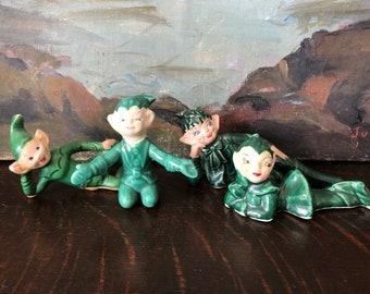 SANTA/'S CHRISTMAS Workshop ELF Red Green Pixie 4 Figurine Plaster Paper Mache Sitting Vintage 1950s Mid Century Holiday Decoration 1735