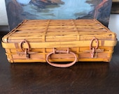 Vintage Wicker Suitcase Vintage Wicker Picnic Basket Vintage Sewing Basket Vintage Rattan Briefcase Vintage Wicker Basket w Loop Closure