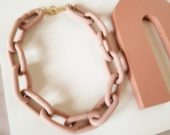 Polymer Clay Necklace   Necklace   Chain Link Necklace   Chain Necklace   Rose Gold Necklace   Links   Handmade Earrings    thatclaygirlco