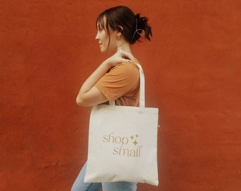 Shop Small Tote   Support Small Business   Small Business Owner   Small Business Gift   Canvas Bag   Market Bag   Reusable   thatclaygirlco
