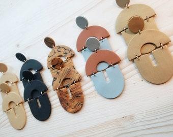 Polymer Clay Earrings   Statement Earrings   Arch Earrings   Two Tone Earrings   Cute Earrings   Handmade Earrings   thatclaygirlco