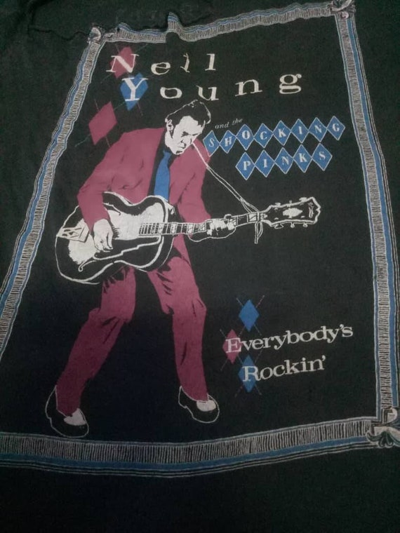 Neil Young Everybody's Rockin Tour 1983 Vintage T-