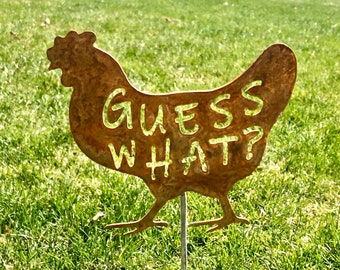 Guess What? Chicken Metal Yard Art- Rusty Farm Decor