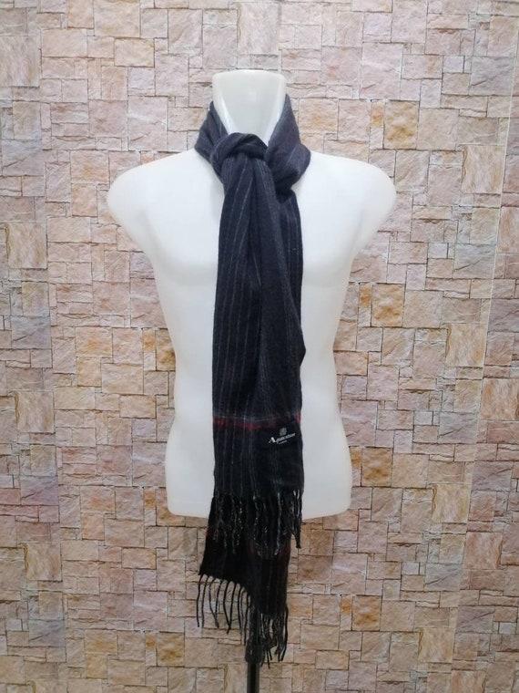 Aquascutum London stripe line design wool scarf mu