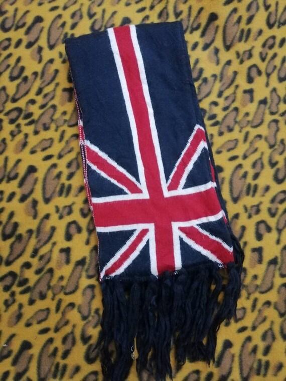 347. Vintage GREAT BRITAIN flag wool long scarf mu