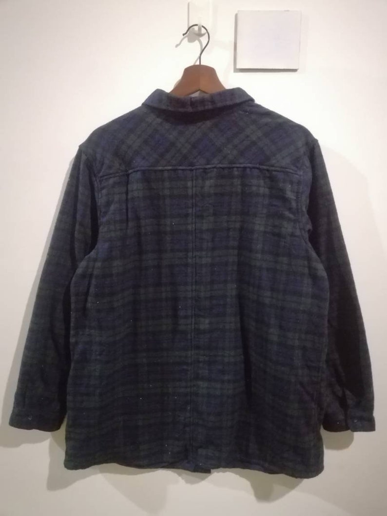 Vintage tartan plaid design button up wool long sleeve shirt streetwear size L XL