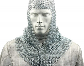 Chainmail Coif Aluminum V-neck Chain mail Hood Medieval Reenacment Armor Costume