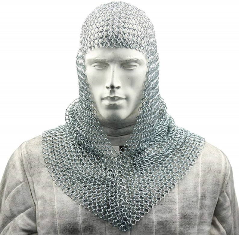 Chain mail Coif V Neck Chainmail Hood Medieval Chainmail Armour Larp Sca Costume