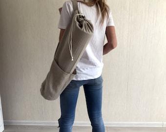 Linen yoga bag / Natural linen yoga mat bag