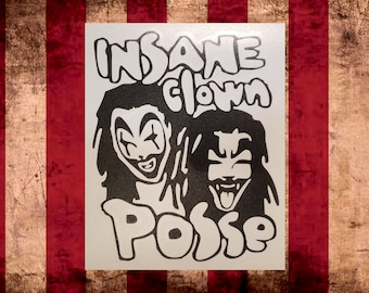 ICP with faces Vinyl Decal, Insane Clown Posse     Juggalo Juggalette Clown Love    Car Gathering of the Juggalo ICP Twiztid