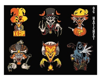 Hallowicked Jokers Cards V2 6x8 Sticker Sheet || Juggalo Juggalette Clown Love ||   ICP Twiztid Psychopathic, Family