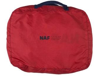 NAF Naf 90s pouches banana purse Yellow Navy Tartan Plaid Vintage 1990