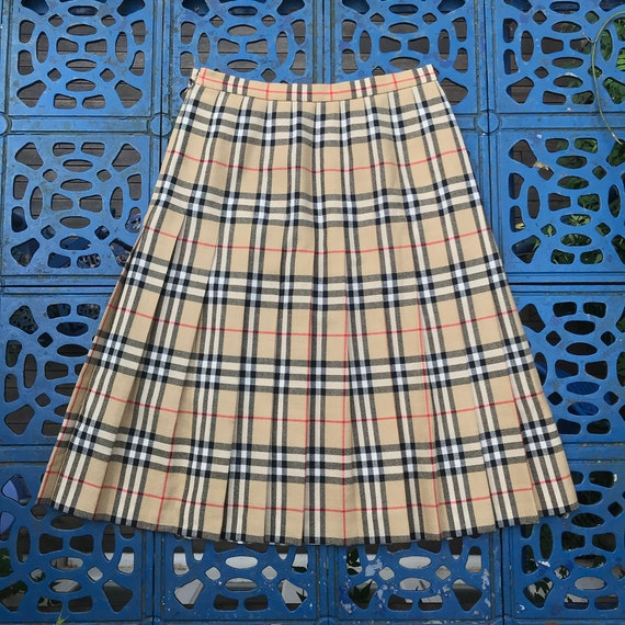 Vintage Burberry Nova Check Pleated Skirt