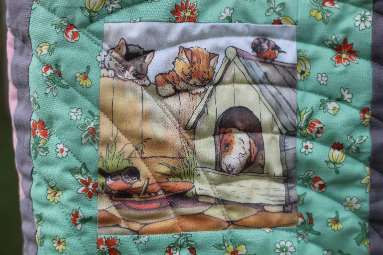 Fabriqué à la main Quilt Enfants vintage Playful Kitten Designs So Cute Machine Quilted Cotton