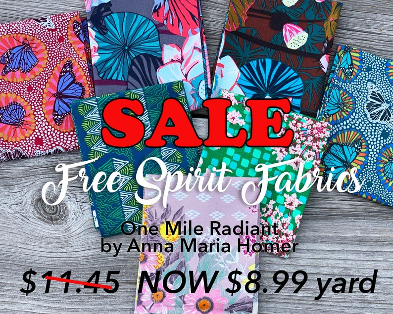 Free Spirit Fabrics One Mile Radiant by Anna Maria/'s Conservatory LOTUS midnight color Cotton Fabric Quilting Crafts Sewing