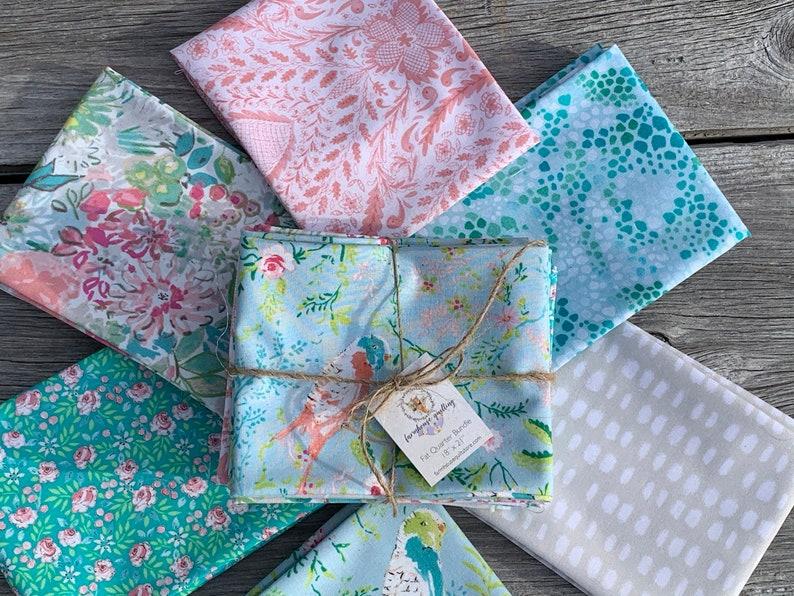 Free Spirit Fabrics Adelaide Grove by Dena Designs Parakeet Park Aqua Quilting Fabric Sewing Fabrics