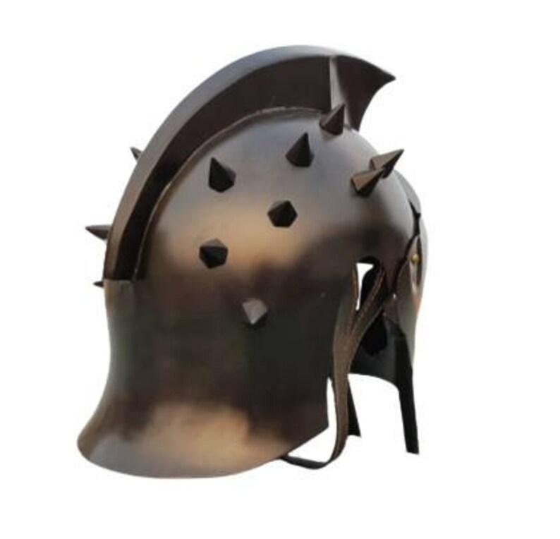 Medieval Knight Black Gladiator Maximus Viking Helmet Antique Roman Spartan  Armour Helmet