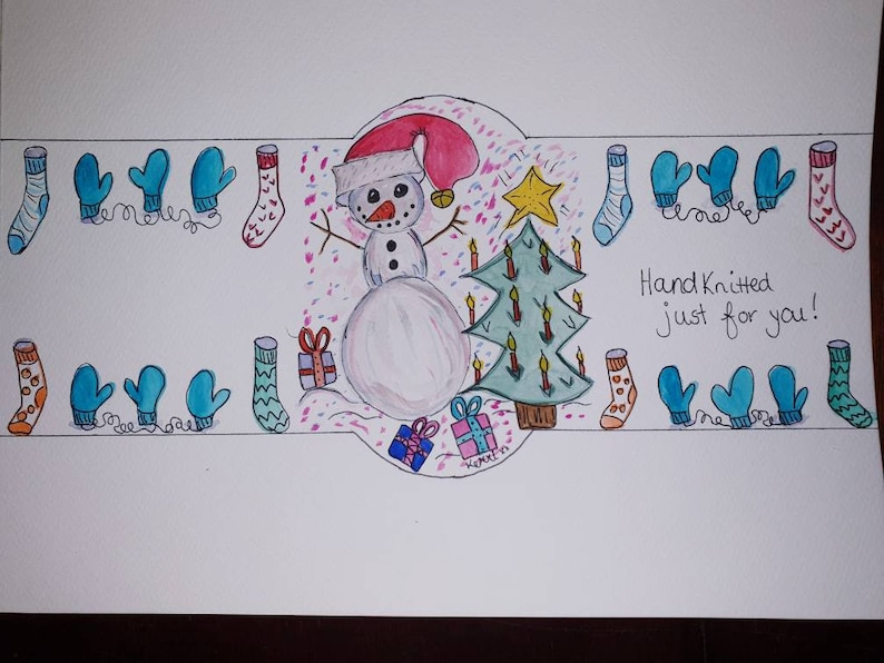 hard copy Christmas gift label for hand knitted socks or mittens