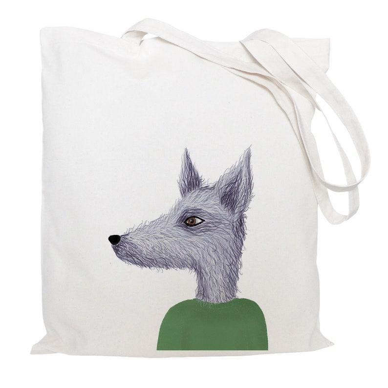 lurcher Dog tote bag -reusable cotton bag dog gifts shopping bag