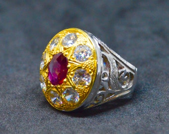 Original Koralle Stein Ring Marjan Stein Ring mit reinen | Etsy