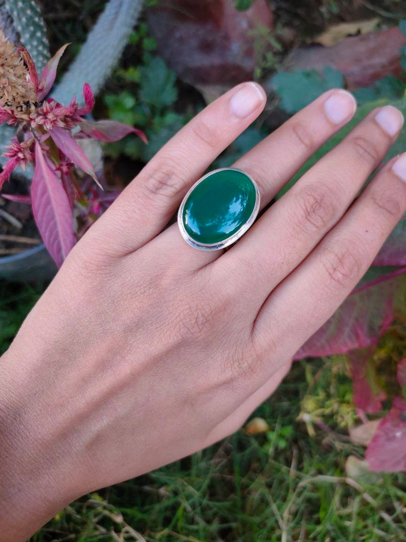 Statement Ring Green Stone Ring Mothers Day Gift For Her Crystal Ring Gemstone Ring Onyx Ring Green Onyx Ring Sterling Silver Ring