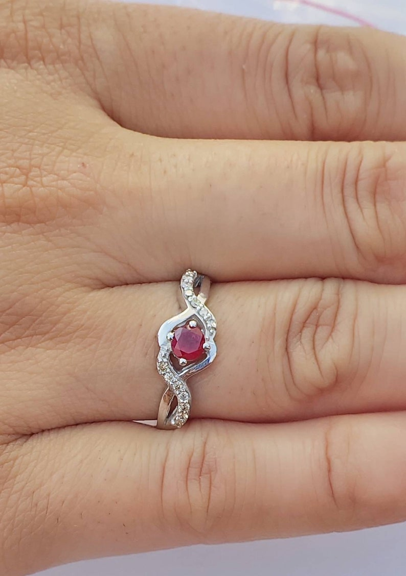 Natural ruby 0.4 carat and diamonds 0.14 carat 925 sterling silver ring GF Hand made ring very good quality of ruby shape round
