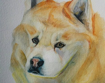 White red chow chow custom portrait personalized art original watercolour dog art ultimate gift pet portrait dog art by LianaFineArt on Etsy