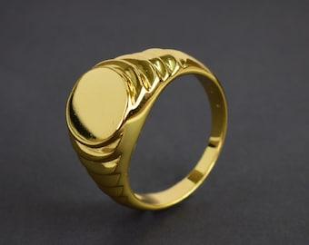 14k Gold Filled Signet Ring , Flat Oval Signet Ring, Men's Ring, Unisex Ring, Handmade Ring, Wide Band Gold Ring Gift For Him SR22