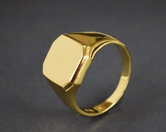 14k Gold Filled Signet Ring , Flat Top Ring, Plain Gold Ring Band, Hexagon Signet Ring, Unisex Ring, Men's Ring, Christmas Gift  SR17