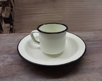 enamel cup, enamel plate, Soviet vintage, retro dishes