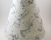 Handmade Lampshade Cotton Fabric on Pressure Sensitive Styrene Round Scalloped Braid Trim 4 1 2 x 10 x 8 1 2 Flush Clip Top