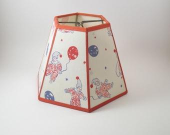 Handmade Cotton Vintage Fabric Lampshade Hexagon on Pressure Sensitive Styrene 4x7x5 1/2 Showroom Sample SS03